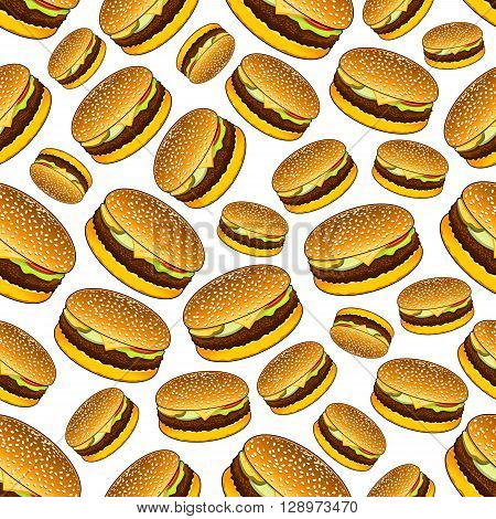 Seamless takeaway lunch sandwiches with sesame buns, grilled beef, pickles, onion rings, tomatoes and cheese pattern over white background. Use as fast food, business lunch theme or cafe interior design