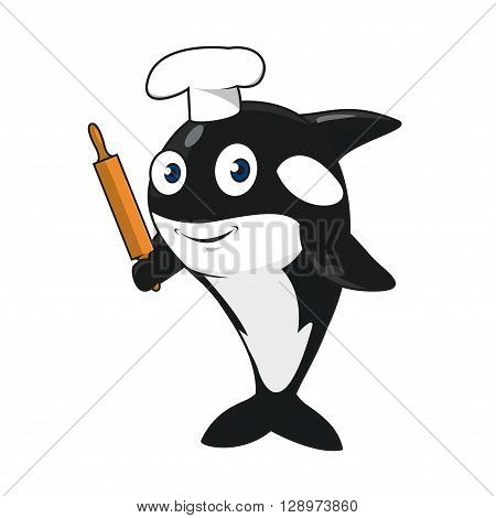Funny cartoon killer whale baker character in white chef hat standing on tail with wooden rolling pin in fin. Maybe use as restaurant or bakery shop mascot design