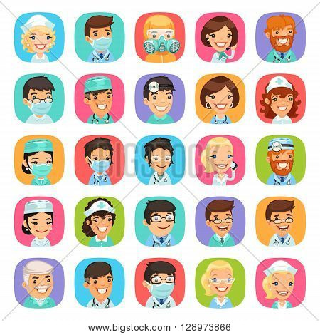 Doctors cartoon characters rounded square icons set. Isolated on white background. Clipping paths included.