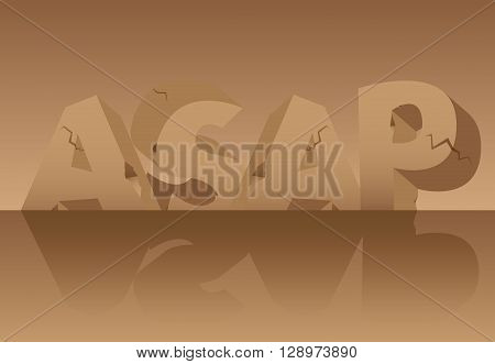 Vector illustrated ASAP word, letters made of stones.