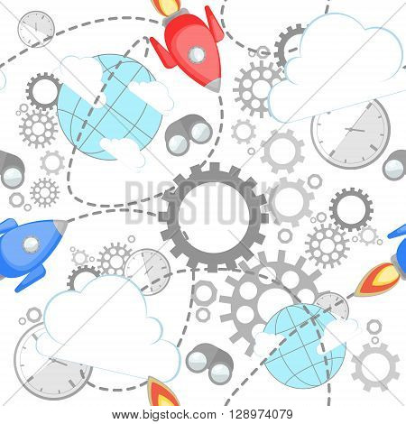 Industrial pattern on white background. Wrench, clock, cog, gear, clouds, planet and rocket. Abstract concept of teamwork, successful business and communication.