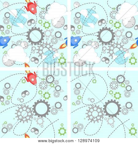 Industrial set pattern on white background. Wrench, clock, cog, gear, clouds, planet and rocket. Abstract concept of teamwork, successful business and communication.