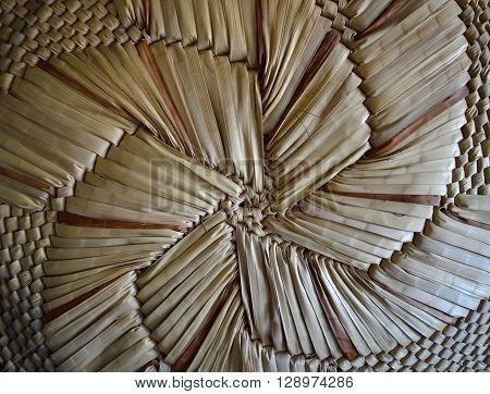 Basket weave texture flower pattern close up