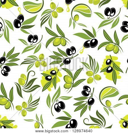 Seamless fresh branches of olive tree pattern with leafy twigs, green and black olive fruits and drops of olive oil over white background. Use as healthy vegetarian nutrition theme or food packaging design