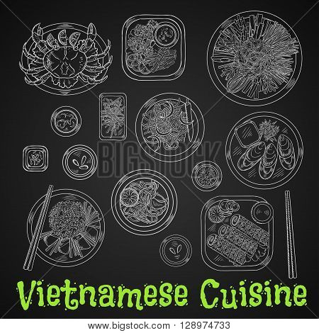 Vietnamese seafood dinner chalk sketch icon with rice and fresh vegetables, grilled crab and mussels, deep fried shrimps and spring rolls in sesame seeds, spicy carrot and prawn salads, rice noodles and fried fish drawing on chalkboard