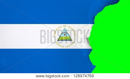 Flag of Nicaragua, Nicaraguan Flag painted on paper texture