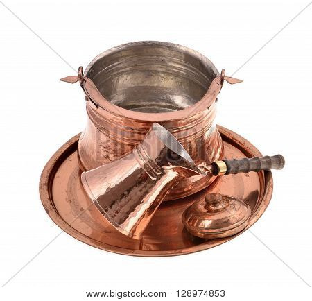 Old copper coffee pot copper cup isolated on white