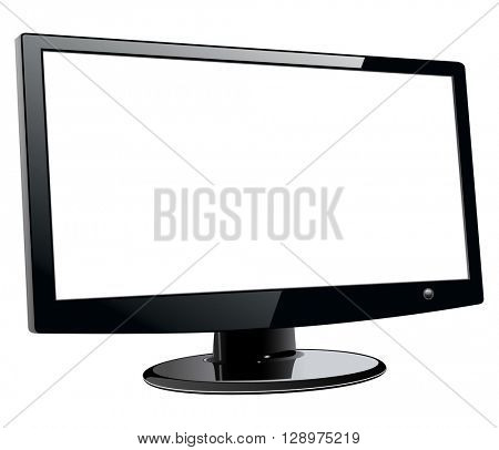 Monitor TV isolated, with empty screen, vector illustration.
