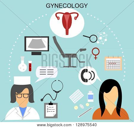 the woman on reception at the gynecologist and various medical icons