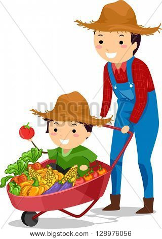 Stickman Illustration of Father and Son on Wheelbarrow of Harvest