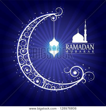 Ramadan Mubarak - Hanging Lamps On Moon And Masjid On Blue Background Vector Design