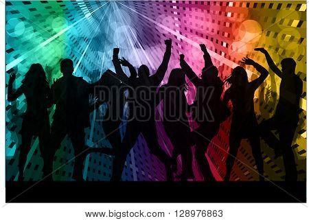Dancing people black silhouettes.  Vector conceptual illustration.