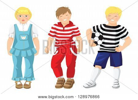 vector illustration of boys and girl in different clothes and shoes isolated on white background. Cute little girls in jeans suit with white blouse. Little boy in striped shirt with soccer ball.
