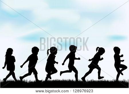 Children silhouettes.  Vector conceptual illustration. Black shadows.
