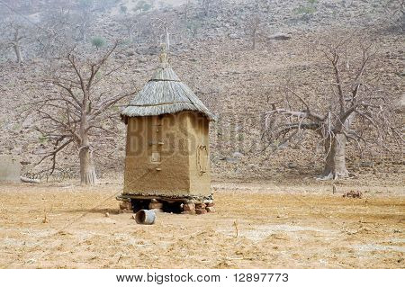 Horizintal Image Of A Dogon Granary In Mali
