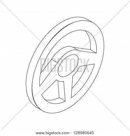 Car rudder wheel icon in isometric 3d style isolated on white background