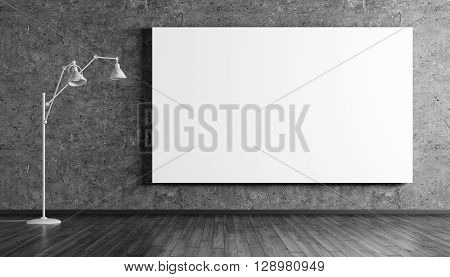 Floor Lamp And Posters Over Concrete Wall 3D Rendering