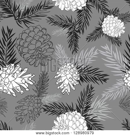 Fir tree branches with pine cone seamless background Black and white silhouette on gray background. Vector illustrations