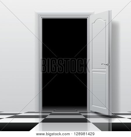 Entrance into a dark room with white open door on the glossy chess floor. Interior concept design in black and white colors. 3D illustration