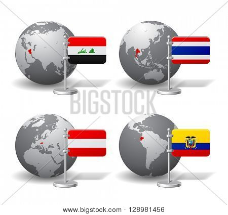 Gray Earth globes with designation of Iraq, Thailand, Austria and Ecuador, with state flags. 3D illustration