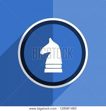 flat design blue chess horse web modern icon