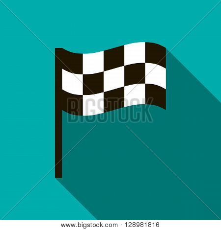 Chequered flag icon in flat style on a blue background
