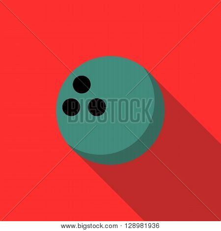 Bowling ball icon in flat style on a red background