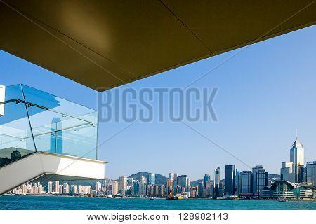 Hong Kong the new city seen from the kowloon peninsula