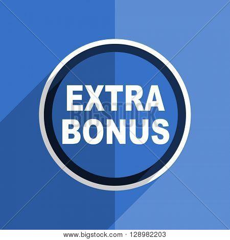 flat design blue extra bonus web modern icon