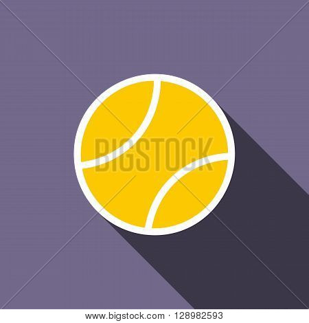 Tennis ball icon in flat style on a violet background