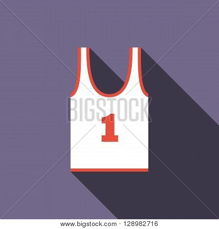 White tank top with number one icon in flat style on a violet background