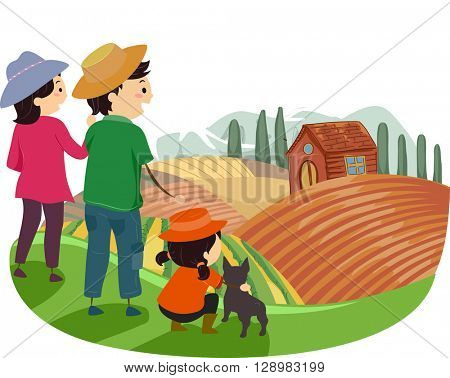 Stickman Illustration of a Family Touring Around a Farm