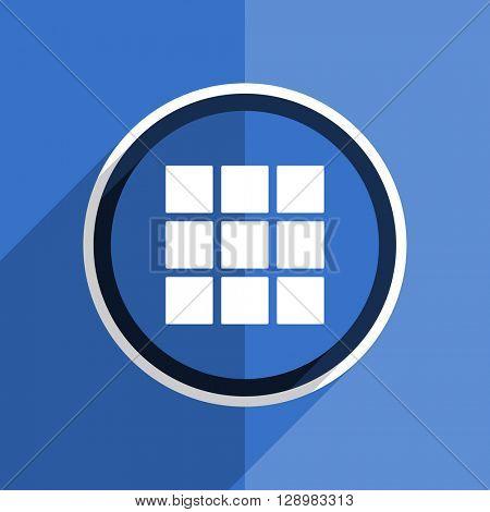 flat design blue thumbnails grid web modern icon