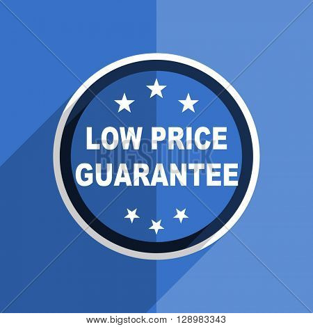 flat design blue low price guarantee web modern icon