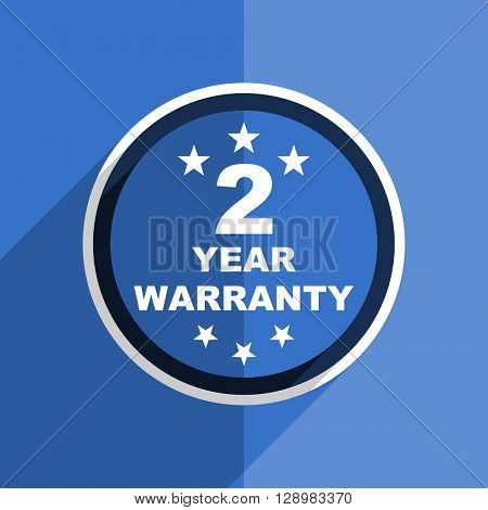 flat design blue warranty guarantee 2 year web modern icon