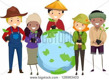 Stickman Illustration of Farmers Surrounding a Globe