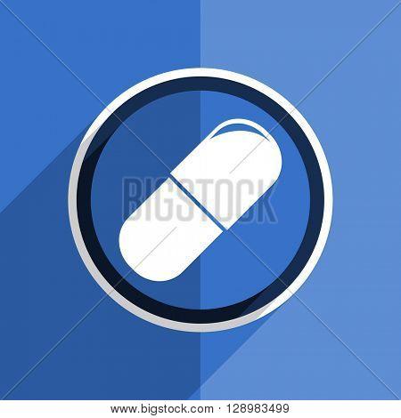 flat design blue drugs web modern icon