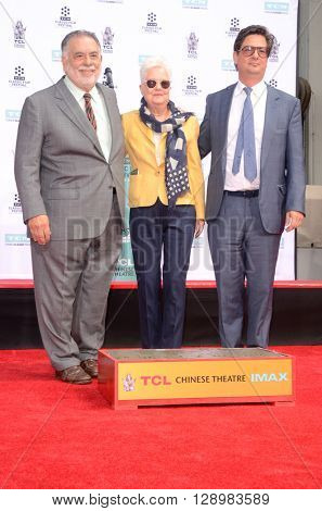 LOS ANGELES - APR 29: Francis Ford Coppola, Eleanor Coppola, Roman Coppola at the Francis Ford Coppola Hand and Foot Print Ceremony at the TCL Chinese Theater IMAX on April 29, 2016 in Los Angeles, CA