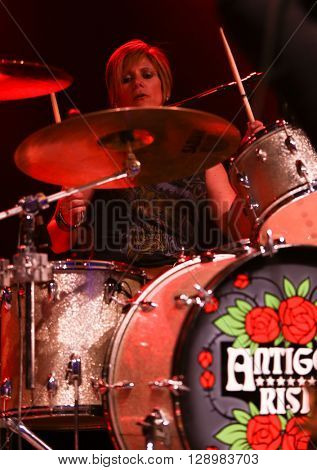 NEW YORK-MAY 6: Drummer Dena Tauriello of Antigone Rising performs onstage at the Paramount on May 6, 2016 in Huntington, New York.
