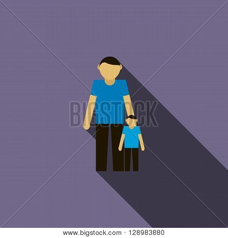 Father and son icon in flat style on a violet background