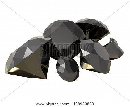 Gemstones isolated on white background. 3D render
