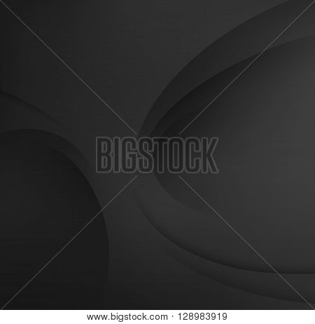 Black elegant business background. Abstract Black background. Template Abstract background with Black curves lines and shadow. For flyer, brochure, booklet and websites design
