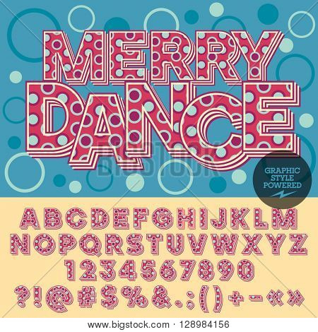Vector colorful alphabet with bubbles. Funny poster with text  Merry dance. Set of numbers, symbols and letters with purple  and turquoise circles.