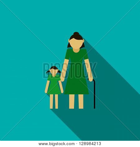 Grandmother with granddaughter icon in flat style on a blue background