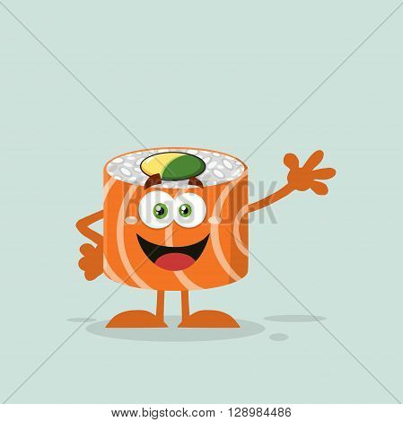 Funny Sushi Roll Cartoon Mascot Character Waving. Illustration Flat Style With Background