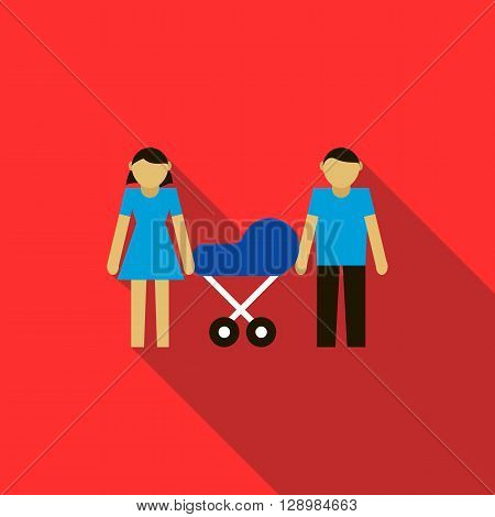 Couple with they newborn child in blue pram icon in flat style on a red background