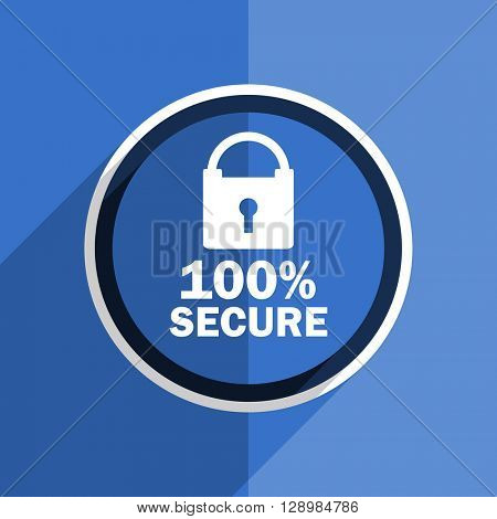 flat design blue secure web modern icon