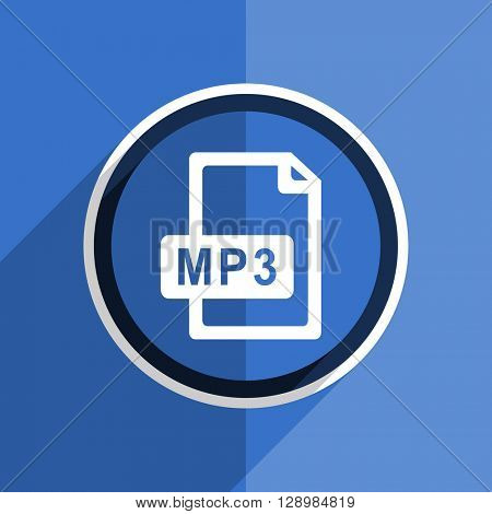 flat design blue mp3 file web modern icon