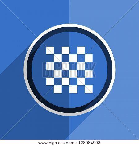 flat design blue chess web modern icon