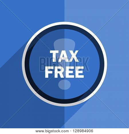 flat design blue tax free web modern icon